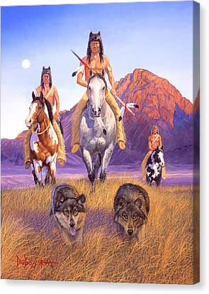 Hunters Of The Full Moon Canvas Print by Howard Dubois