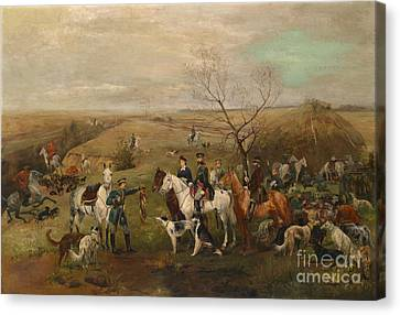 Hunting Party With Tsar Alexander IIi. And Zarina Maria Fedorovna Canvas Print by MotionAge Designs