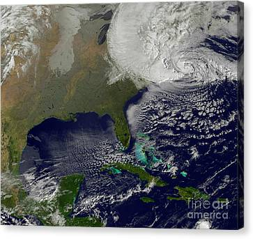 Hurricane Sandy Battering The United Canvas Print by Stocktrek Images