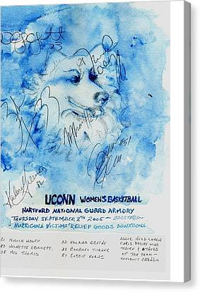 Huskies Team And Mascot-armory 2005 Canvas Print by Elle Smith  Fagan