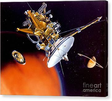 Huygens Probe Separating Canvas Print by NASA and Photo Researchers