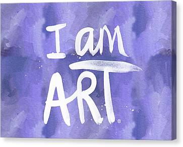 I Am Art Painted Blue And White- By Linda Woods Canvas Print by Linda Woods