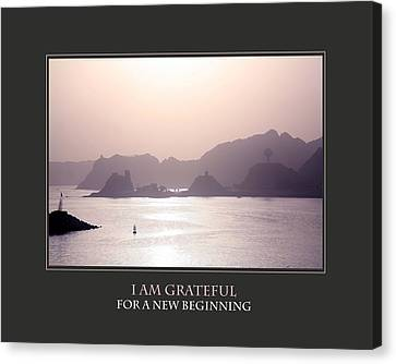 I Am Grateful For A New Beginning Canvas Print by Donna Corless