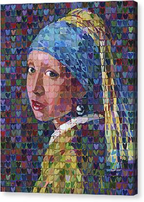 I Heart Girl With A Pearl Earring Canvas Print by Randal Huiskens
