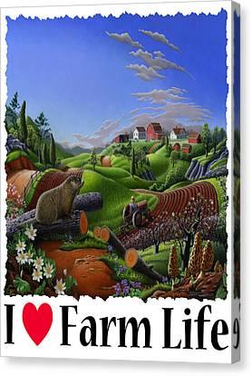 I Love Farm Life - Groundhog - Spring In Appalachia - Rural Farm Landscape Canvas Print by Walt Curlee