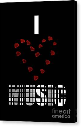 I Love Music 7 Canvas Print by Prarthana Kulasekara
