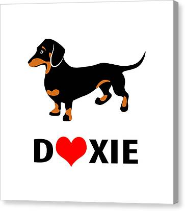 I Love My Doxie Canvas Print by Antique Images