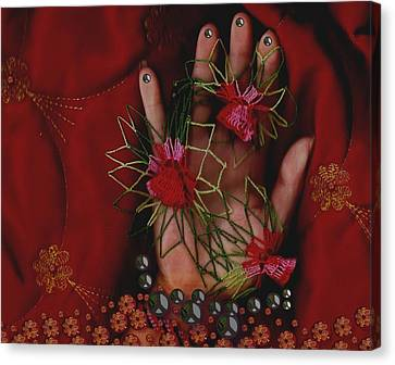 I Reach Love Peace In Life With My Hand Canvas Print by Pepita Selles