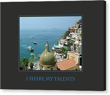 I Share My Talents Canvas Print by Donna Corless