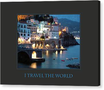 I Travel The World Amalfi Canvas Print by Donna Corless