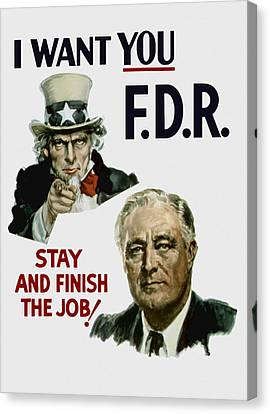 I Want You Fdr  Canvas Print by War Is Hell Store
