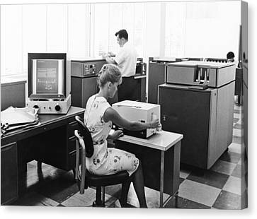 Ibm Microfiche Cards Canvas Print by Underwood Archives