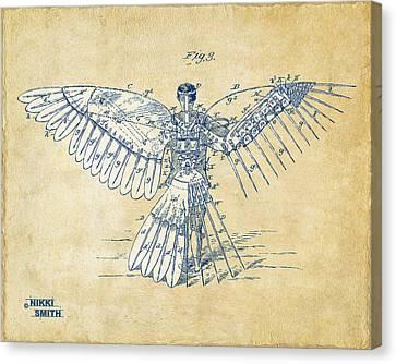 Icarus Human Flight Patent Artwork - Vintage Canvas Print by Nikki Smith