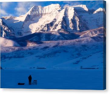 Ice Fisherman On A Winter Morning Canvas Print by Utah Images