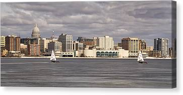 Ice Sailing - Lake Monona - Madison - Wisconsin Canvas Print by Steven Ralser