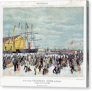 Ice Skaters, C1856 Canvas Print by Granger