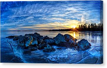 Icebound Sunset Panorama Canvas Print by Bill Caldwell -        ABeautifulSky Photography