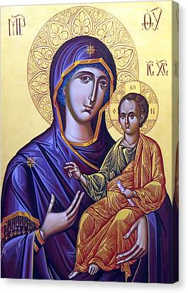 Icon Of Mary And The Child  Canvas Print by Munir Alawi