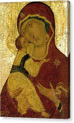Icon Of The Virgin Of Vladimir Canvas Print by Moscow School