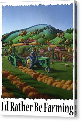 Id Rather Be Farming - Farmer On Old John Deere Tractor Baling Hay Field Farm Landscape Canvas Print by Walt Curlee