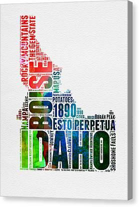 Idaho Watercolor Word Cloud  Canvas Print by Naxart Studio