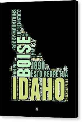 Idaho Word Cloud 1 Canvas Print by Naxart Studio