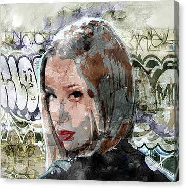 Iggy Azalea Graffiti 3 Canvas Print by Jani Heinonen