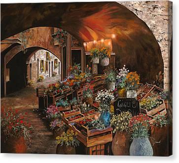 Il Mercato Dei Fiori Canvas Print by Guido Borelli