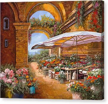 Il Mercato Sotto I Portici Canvas Print by Guido Borelli