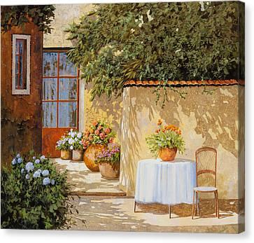 Il Muretto E Il Tavolo Canvas Print by Guido Borelli