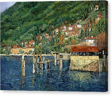 il porto di Bellano Canvas Print by Guido Borelli