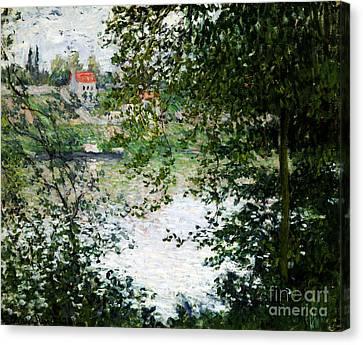 Ile De La Grande Jatte Through The Trees Canvas Print by Claude Monet