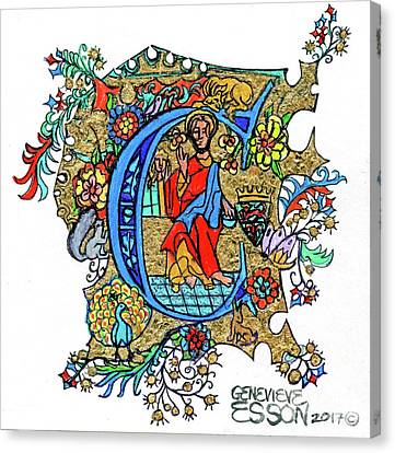 Illuminated Letter C Canvas Print by Genevieve Esson