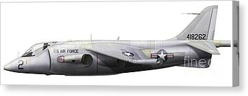 Illustration Of A Hawker P1127 Kestrel Canvas Print by Chris Sandham-Bailey