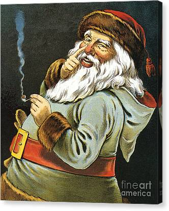 Illustration Of Santa Claus Smoking A Pipe Canvas Print by American School