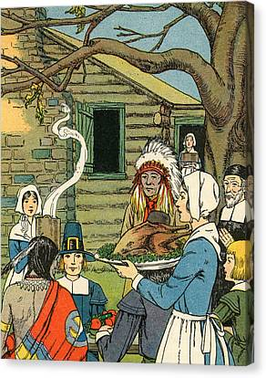 Illustration Of The First Thanksgiving Canvas Print by American School