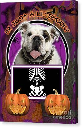 I'm Just A Lil' Spooky Bulldog Canvas Print by Renae Laughner