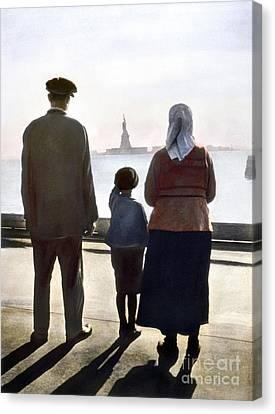 Immigrants: Ellis Island Canvas Print by Granger