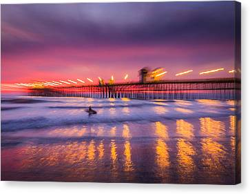 Impression Of Sunset At Oceanside Pier - Abstract Photograph Canvas Print by Duane Miller