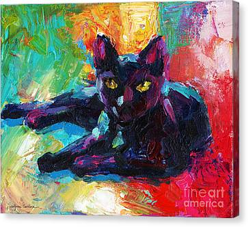 Impressionistic Black Cat Painting 2 Canvas Print by Svetlana Novikova