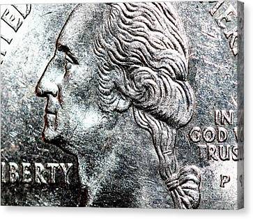 In God We Trust . Quarter . R4441 Canvas Print by Wingsdomain Art and Photography