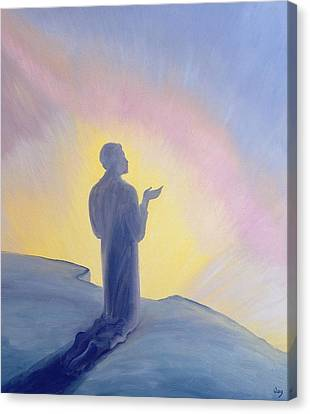 In His Life On Earth Jesus Prayed To His Father With Praise And Thanks Canvas Print by Elizabeth Wang