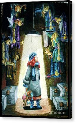 In The Closet Of The Puppeteer Canvas Print by Yagmur Telorman
