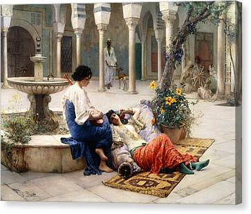 In The Courtyard Of The Harem Canvas Print by Max Ferdinand Bredt