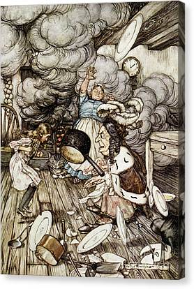 In The Duchesss Kitchen Canvas Print by Arthur Rackham