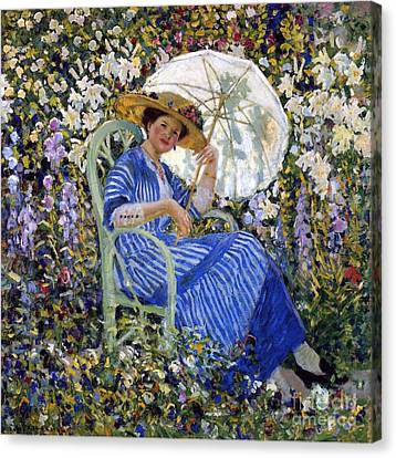In The Garden Canvas Print by Frederick Carl Frieseke