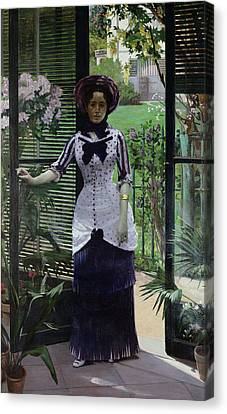 In The Greenhouse Canvas Print by Albert Bartholome