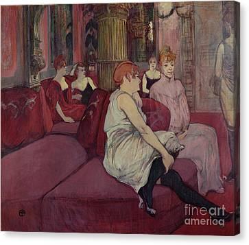 In The Salon At The Rue Des Moulins Canvas Print by Henri de Toulouse-Lautrec