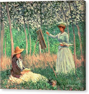 In The Woods At Giverny Canvas Print by Claude Monet