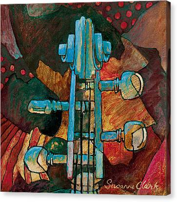 In Tune - String Instrument Scroll In Blue Canvas Print by Susanne Clark